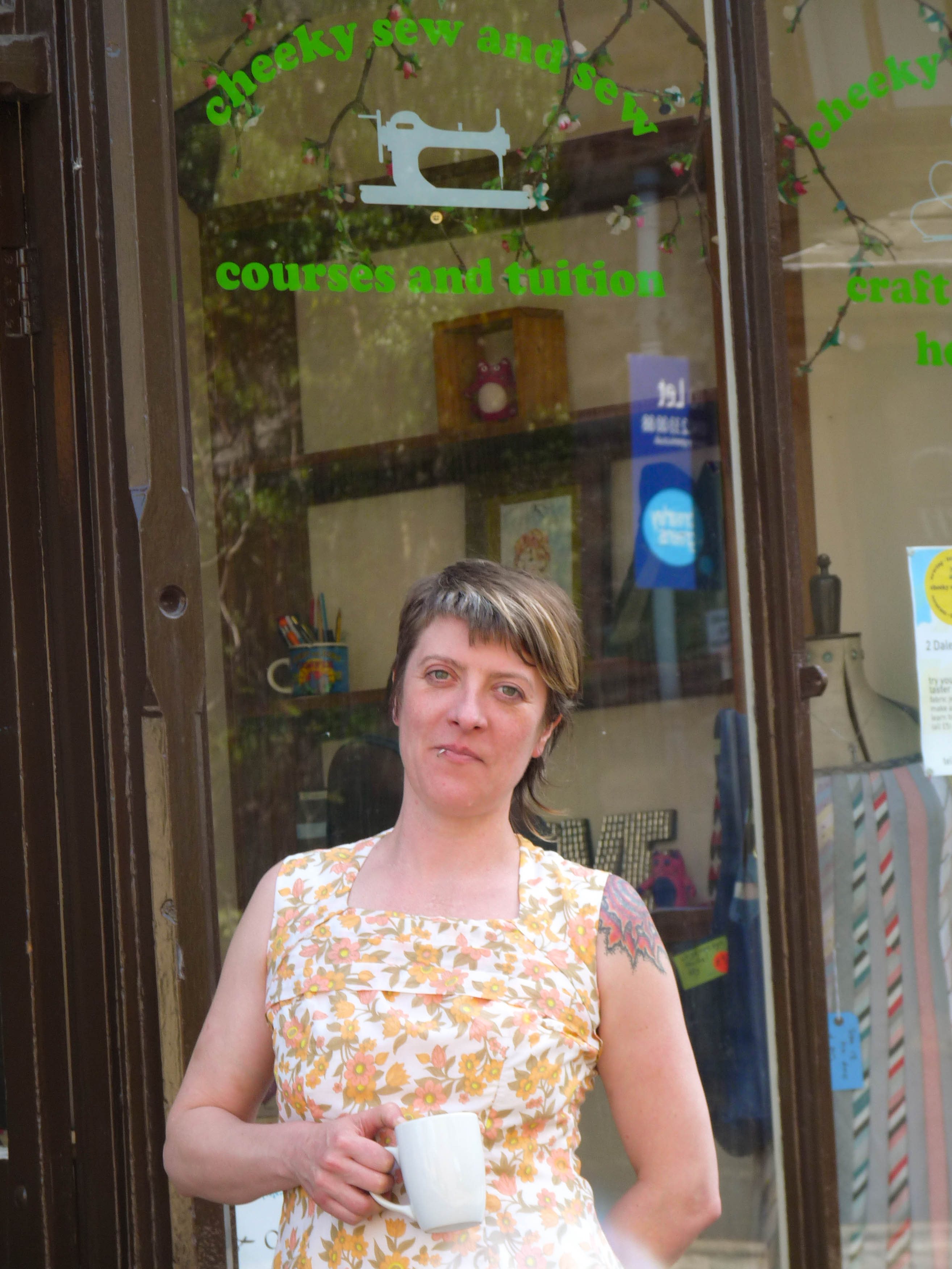 Tansy Dyer outside cheeky sew and sew workshop
