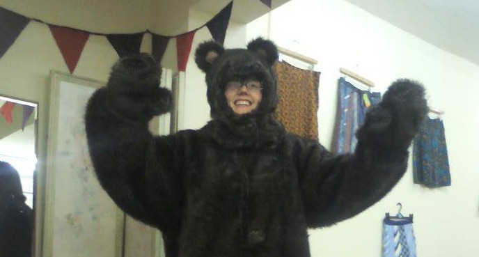 bear suit lady